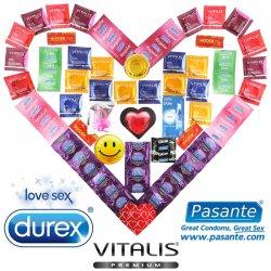 Luxusný balíček 55 kondómov Durex, Pasante a Vitalis s vibračným krúžkom