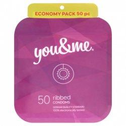 You&me Ribbed Condoms 50ks