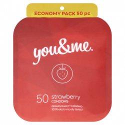 You&me Strawberry Condoms 50ks