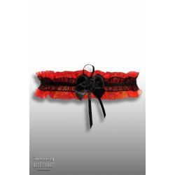 Demoniq Čipkovaný podväzok s ružičkou - Červený