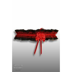 Demoniq Čipkovaný podväzok s ružičkou - Čierny