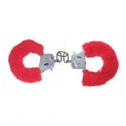 Toyjoy Furry Fun Cuffs - Plyšové kovové putá - Červené