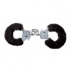 Toyjoy Furry Fun Cuffs - Plyšové kovové putá - Čierne