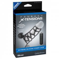Pipedream Fantasy X-tensions Extreme Silicone Power Cage - Vibračný silikónový návlek na penis