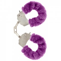 Toyjoy Furry Fun Cuffs - Plyšové kovové putá - Fialové